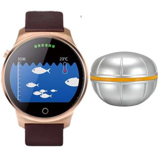 Smartwatch Gold Stainless Steel Case And Black Leather Band + Fish Sensiting Device