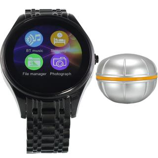 Smartwatch Black Stainless Steel Case And Black Bracelet With Fish Sensiting Device