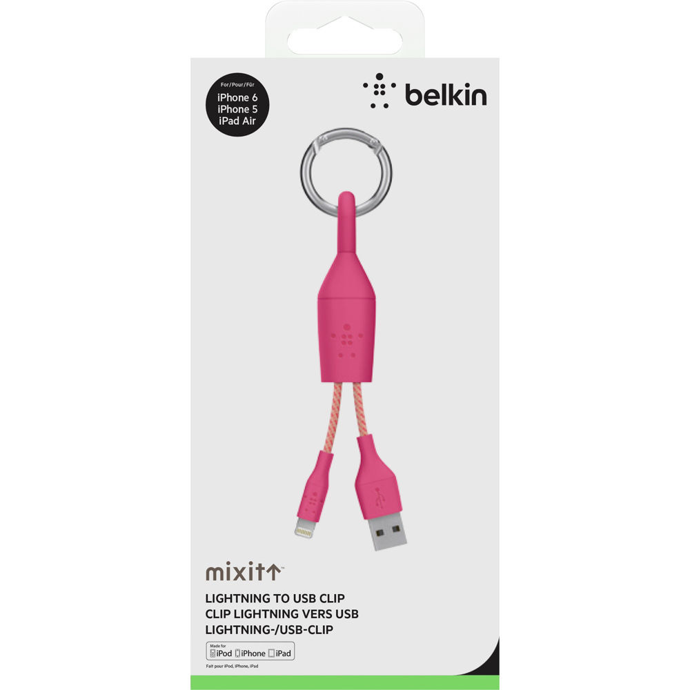 MFI Mixit Clip Lightning-USB Data cable Pink