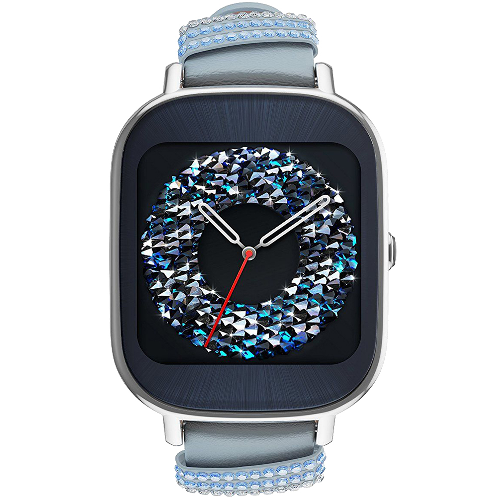 Smartwatches ZenWatch 2 Silver Stainless Steel And Blue Leather Band Swarowski