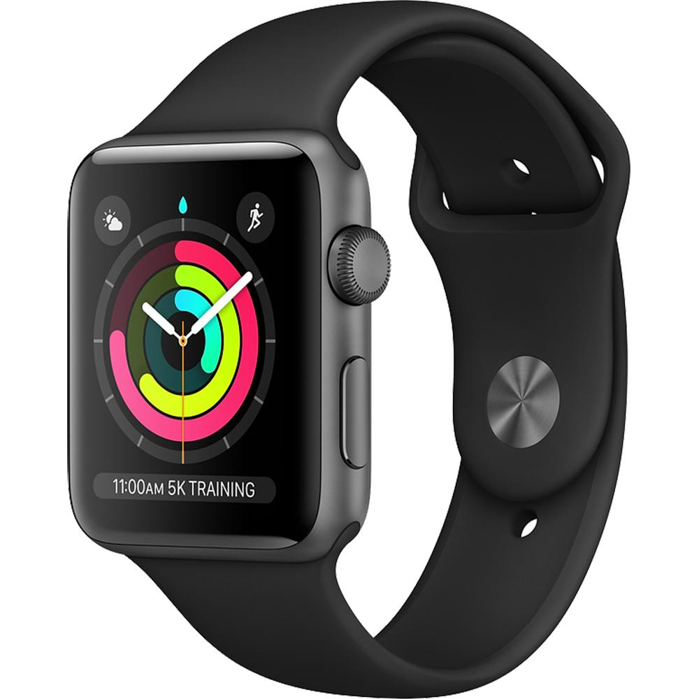 APPLE Smartwatch Watch 3 GPS Aluminiu Negru 42MM Si Curea Sport Neagra MTF32