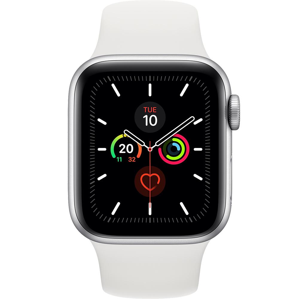 APPLE Watch 5 GPS Aluminiu Argintiu 44M Si Curea Spor Silicon Alba