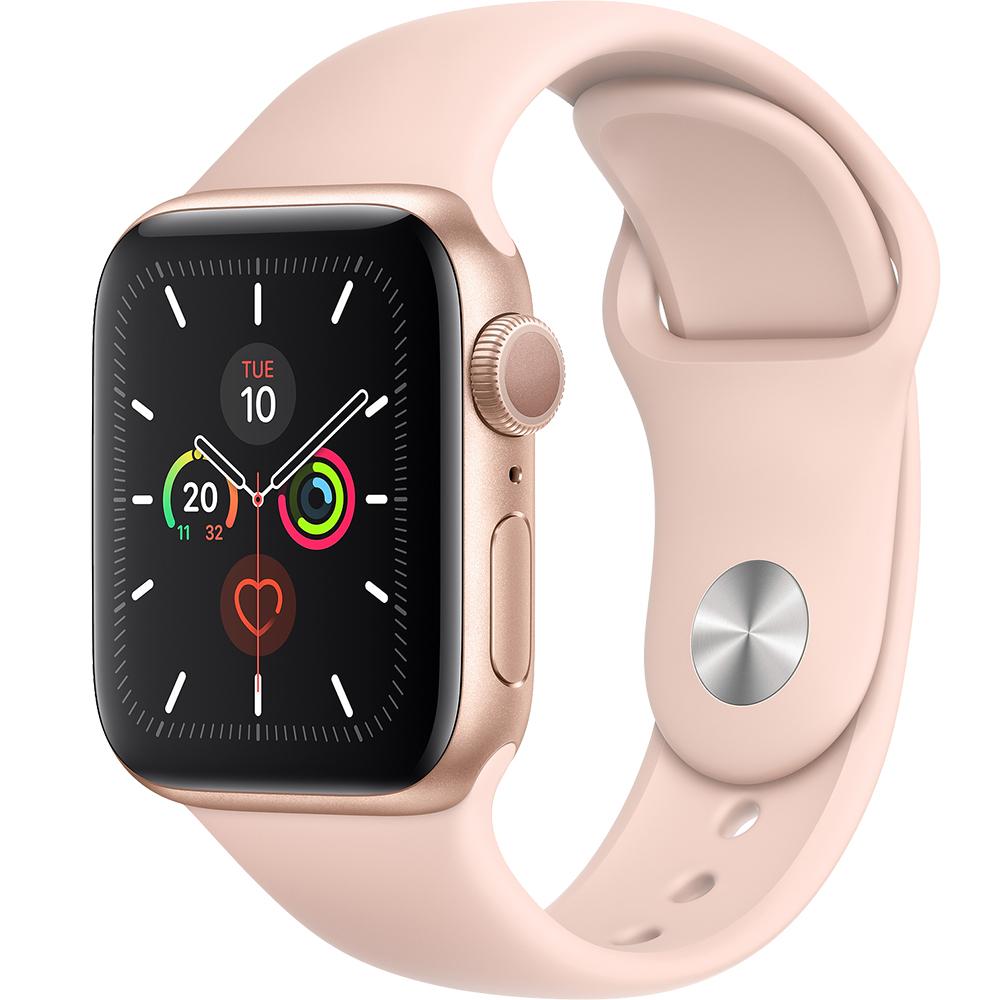 APPLE Watch 5 GPS Aluminiu Auriu 44MM Si Curea Sport Silicon Roz